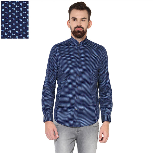 Turtle Men's Navy Blue Floral Print Slim Fit Patywear Shirt