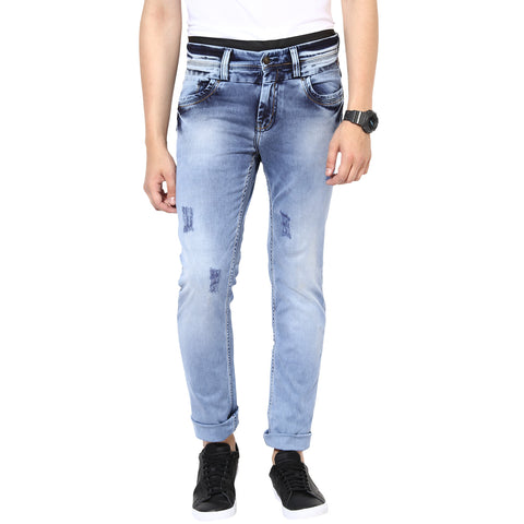 Blue Low Rise Slim Fit Denims With Stretch