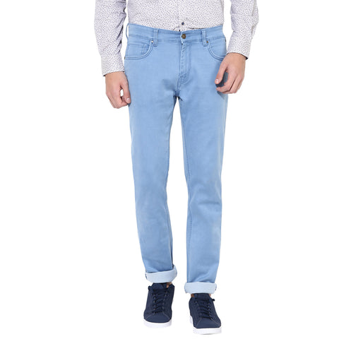 Light Blue Low Rise Slim Fit Denims With Stretch