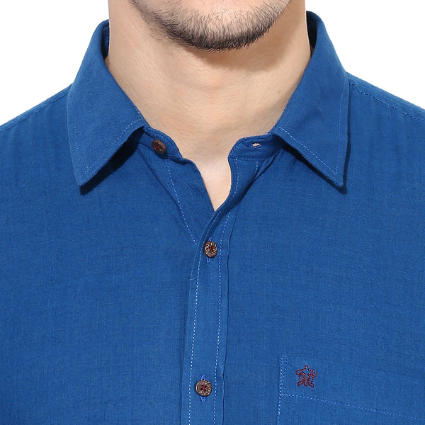 Solid Blue Handwoven Shirt