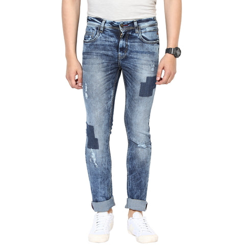 Blue Low Rise Slim Fit Jeans With Distressed Look