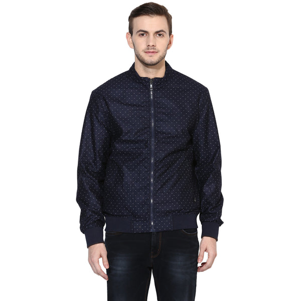 Turtle Navy Blue Printed Slim Fit Reversible Windcheater