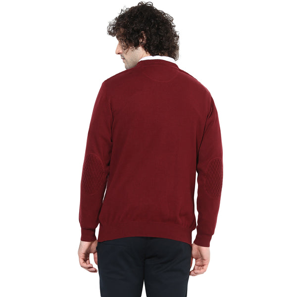 Maroon Self Designed Pullover