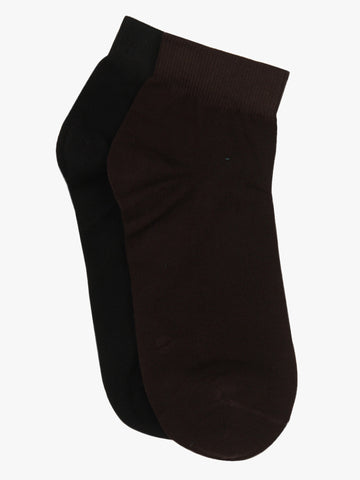 Pack of Two Solid Brown & Black Ankle Length Cotton Socks