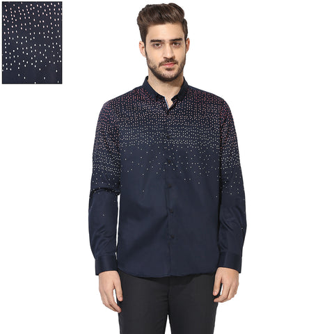 Turtle Men's Navy Blue Slim Fit Partywear Shirt With Ombre Print
