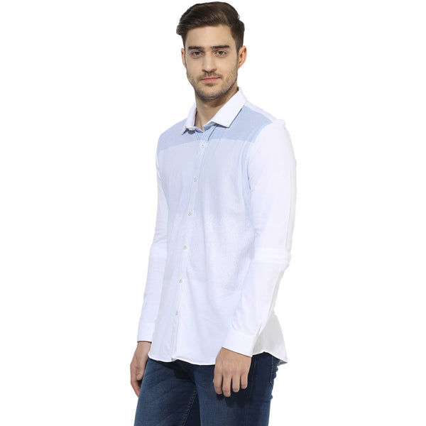 White Knitted Casual Shirt With Blue Engineered Stripes