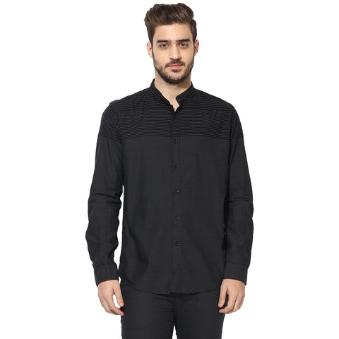 Black Slim Fit Casual Shirt With Engineered Stripes