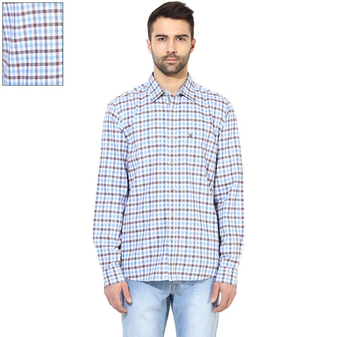 Blue And Brown Checkered Slim Fit Casual Shirt