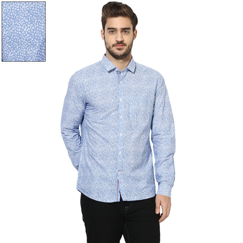 Blue Floral Print Slim Fit Casual Shirt