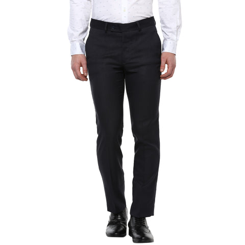 Navy Blue Solid Formal Trouser