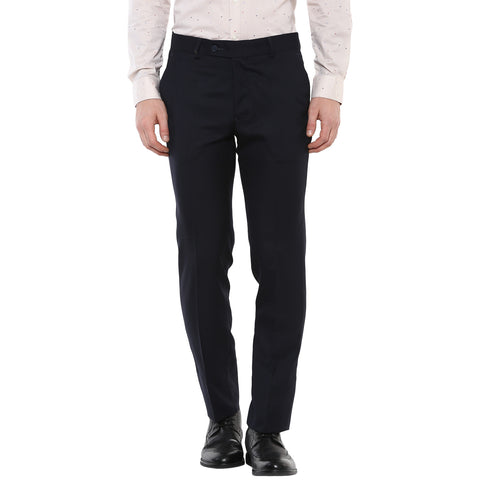 Solid Navy Blue Formal Trouser