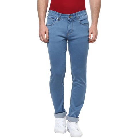 Turtle Men's Light Blue Low Rise Slim Fit Denims With Stretch