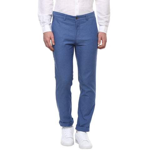 Solid Blue Casual Trouser With Stretch