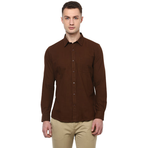 Brown Hand Woven Casual Shirt