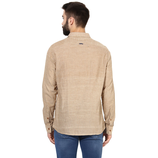 Beige Casual Shirt With Micro Checks