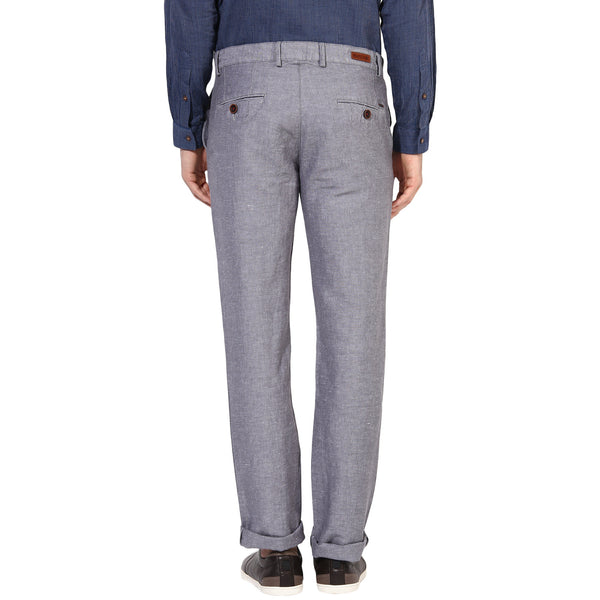 Turtle Grey Cotton Linen Slim Fit Casual Trousers