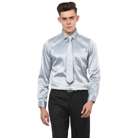 Light Grey Poly Satin Partywear Shirt With Tie