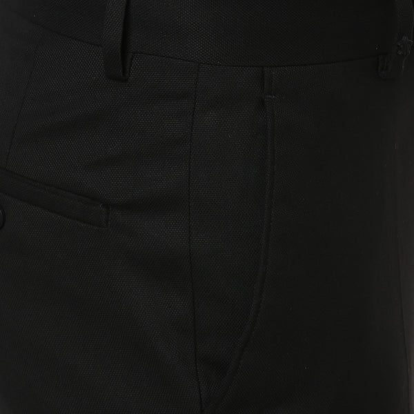 Solid Black Formal Trouser With Stretch