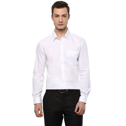 Solid White Poplin Cotton Formal Shirt