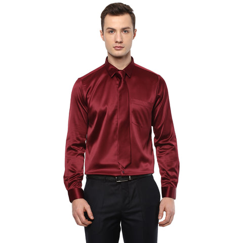 Maroon Poly Satin Partywear Shirt With Tie