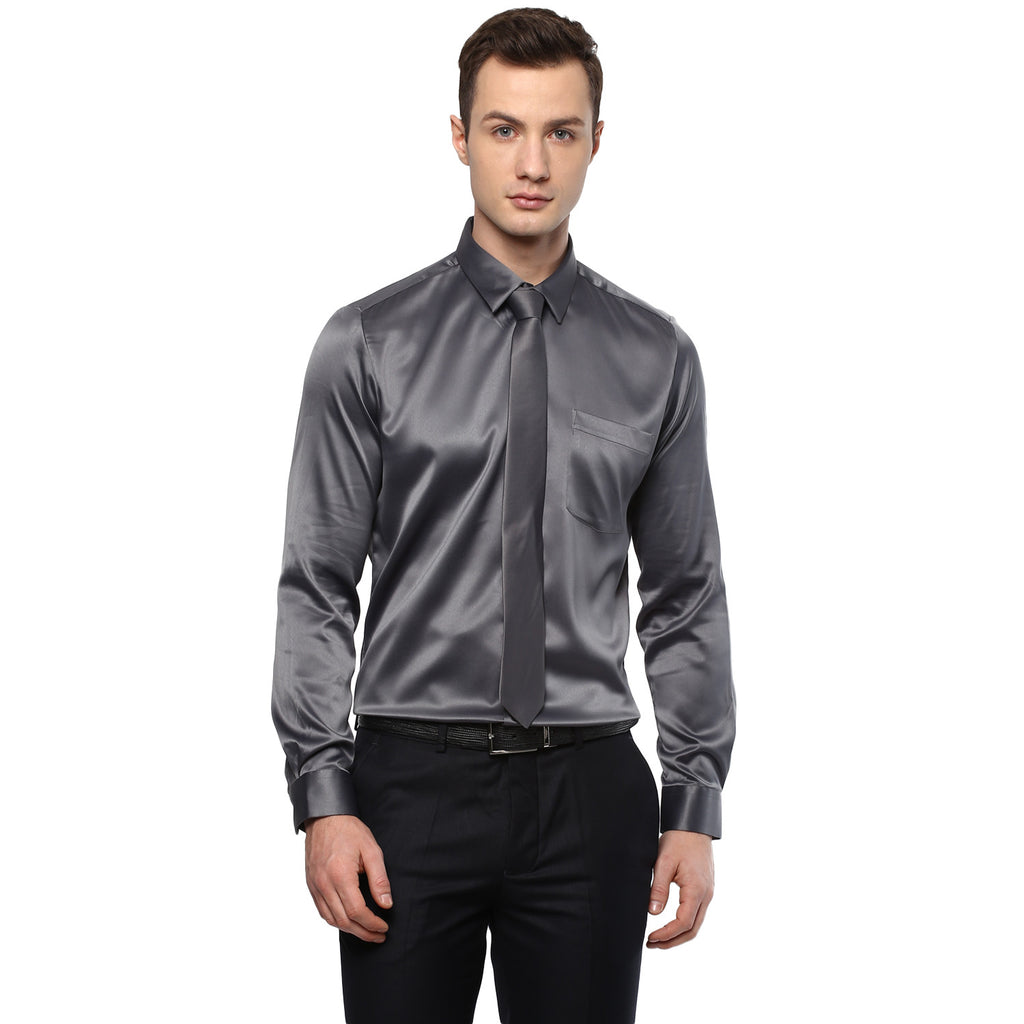 Dark Grey Poly Satin Partywear Shirt With Tie
