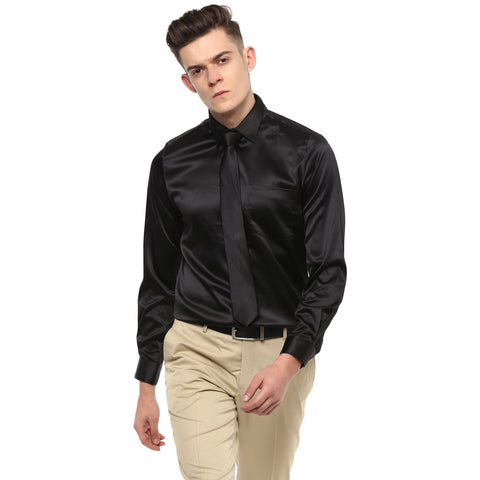 Black Poly Satin Partywear Shirt With Tie
