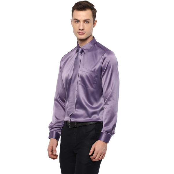 Purple Poly Satin Partywear Shirt With Tie