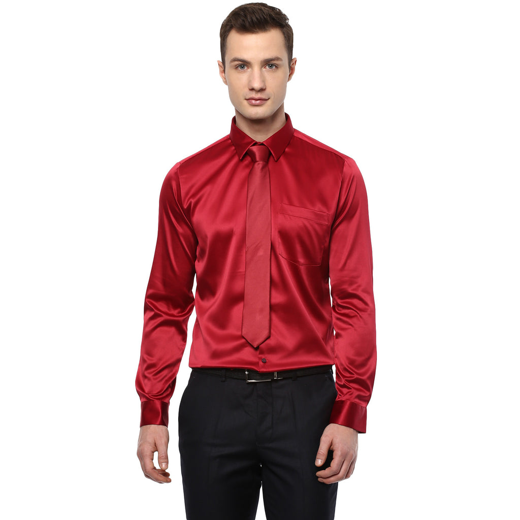 Red Poly Satin Partywear Shirt With Tie