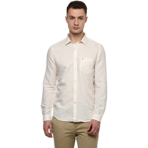 Turtle Solid Beige Cotton Linen Casual Shirt