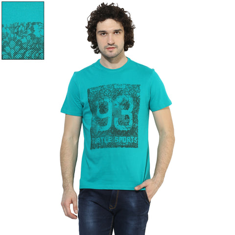 Turtle Men's Sea Green Graphic Print Single Jersey Slim Fit Round Neck T-shirt