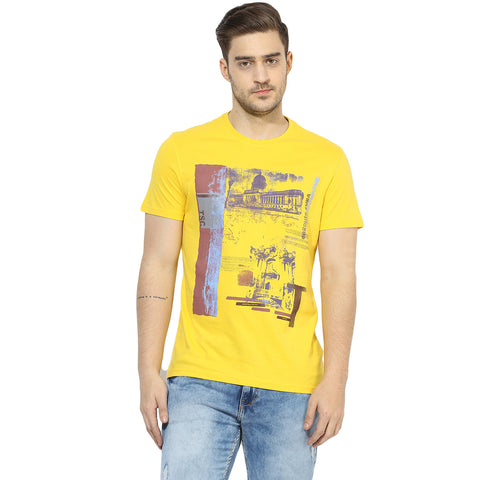 Turtle Men's Yellow Vintage Graphic Print Slim Fit Round Neck T-shirt