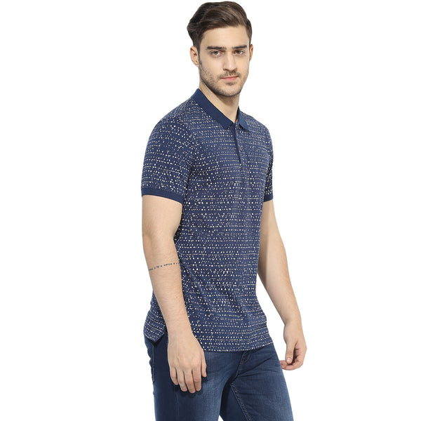 Navy Blue Single Jersey Polo T-shirt With Distressed Print