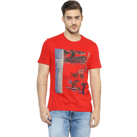 Turtle Men's Red Vintage Graphic Print Slim Fit Round Neck T-shirt
