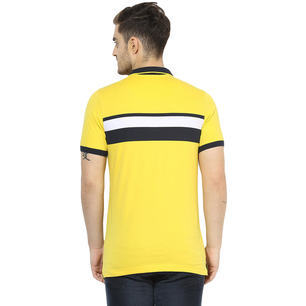 Yellow Polo Single Jersey T-shirt With Navy Blue Placement Stripes