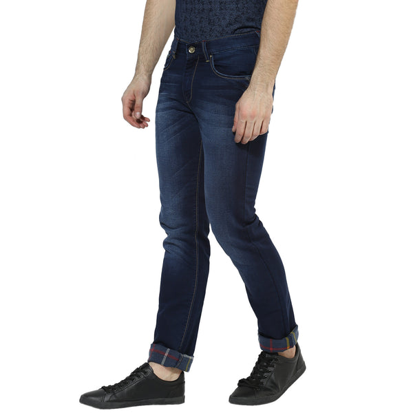 Navy Blue Low Rise Roll-Up Jeans