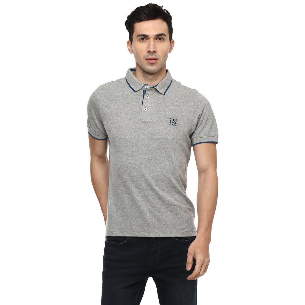 Turtle Solid Grey Polo Neck T-shirt
