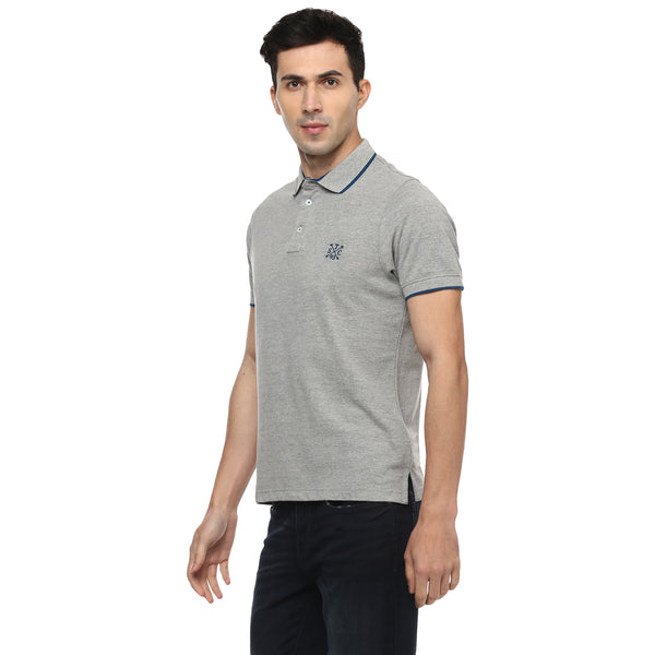 Solid Grey Polo Neck Pique Knit T-shirt