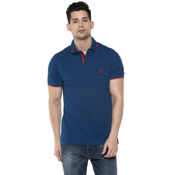 Turtle Solid Navy Blue Polo T-shirt