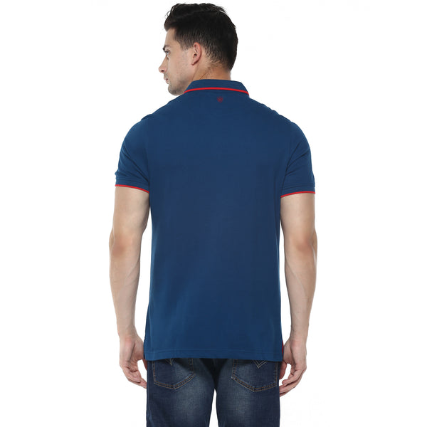 Solid Navy Blue Polo Neck Pique Knit T-shirt