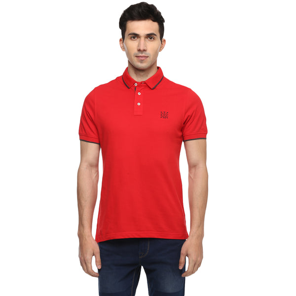 Turtle Solid Red Polo Neck T-shirt