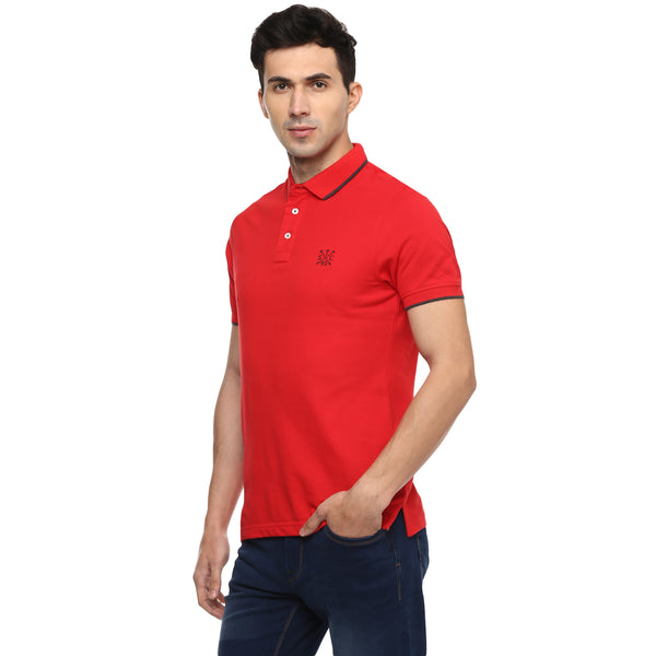 Solid Red Polo Neck Pique Knit T-shirt