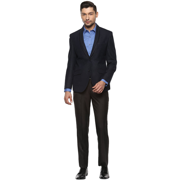 Black Structured Single Breasted Blazer With Detachable Lapel