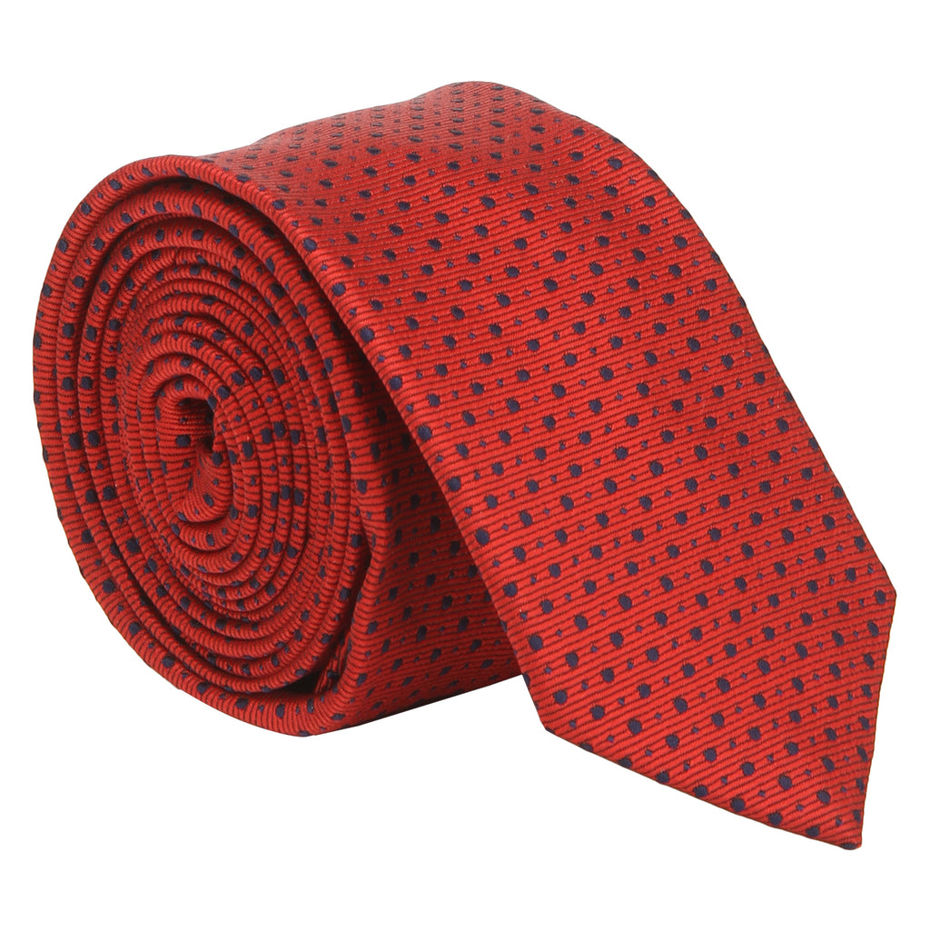 Turtle Men's Red Fine Structured Teflon Coated Tie