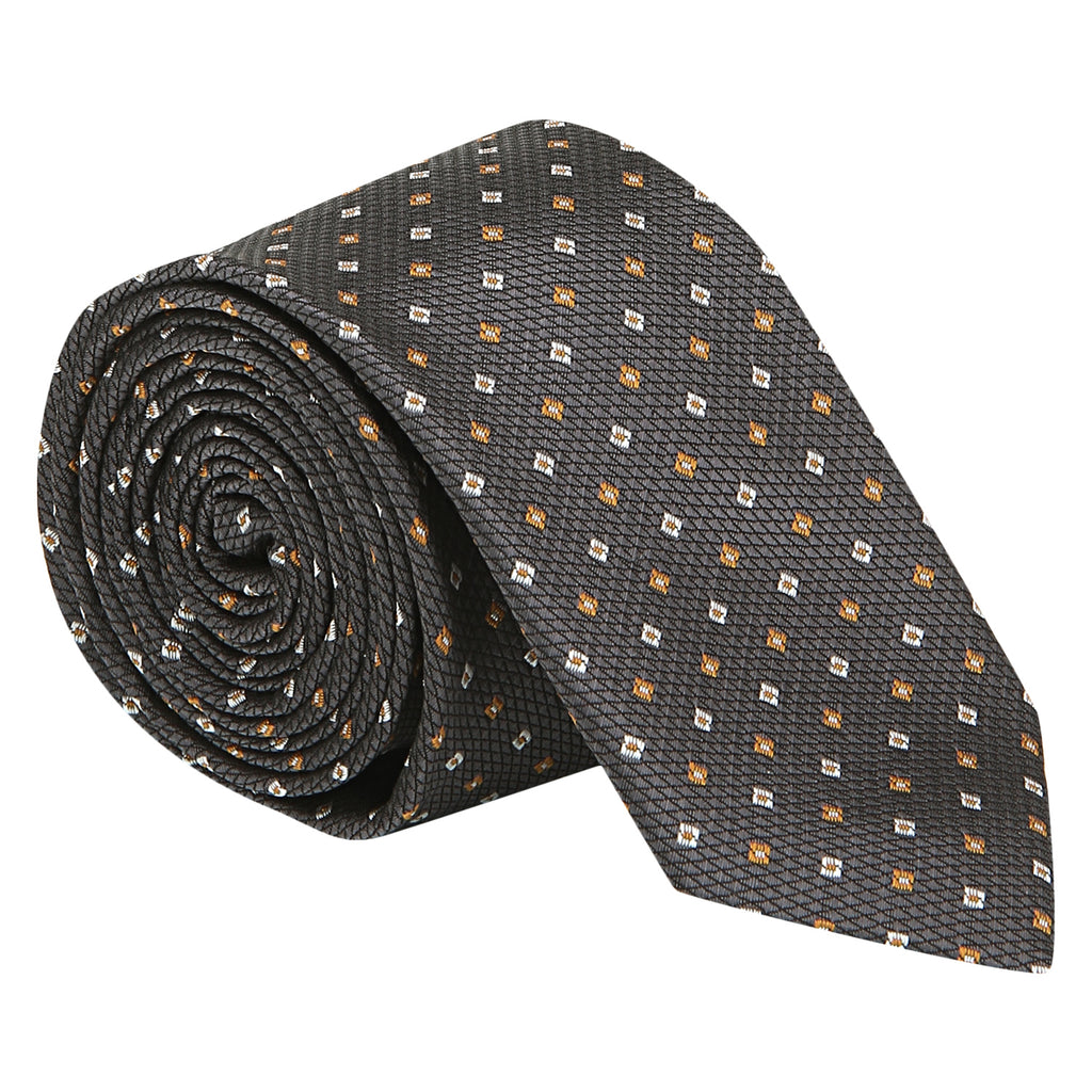 Turtle Men's Grey Structured Teflon Coated Tie