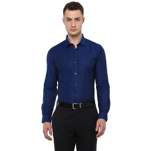 Navy Blue Structured Formal Shirt