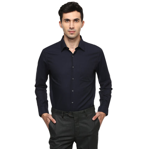 Turtle Navy Blue Formal Shirt