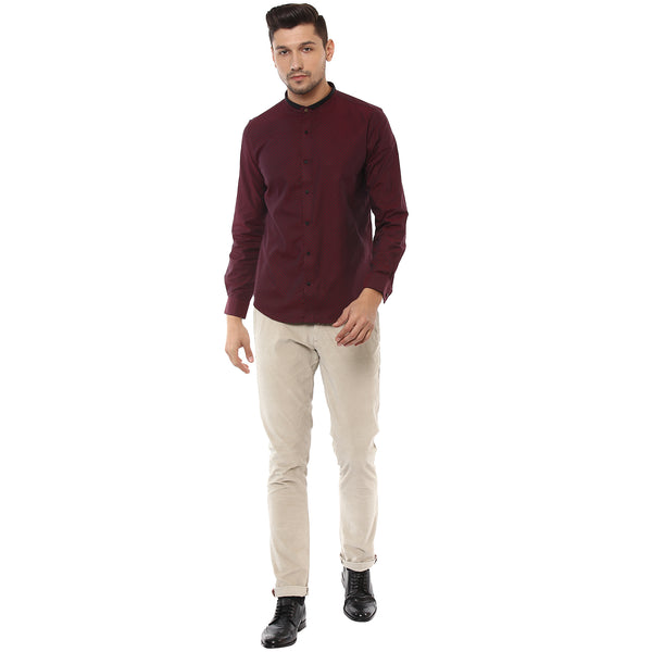 Maroon Structured Partywear Shirt With Designer Band Collar