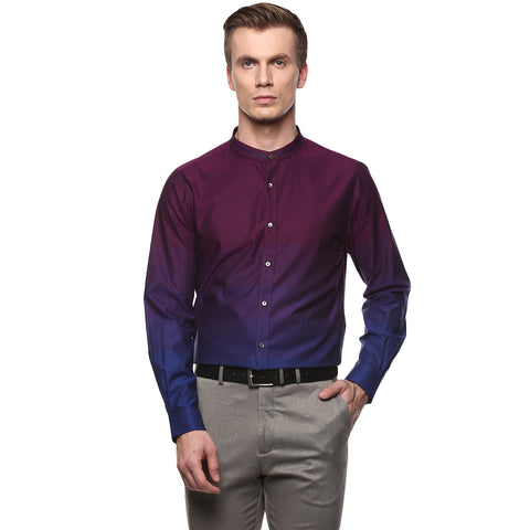 Turtle Men's Purple Slim Fit Partywear Shirt With Ombre Effect