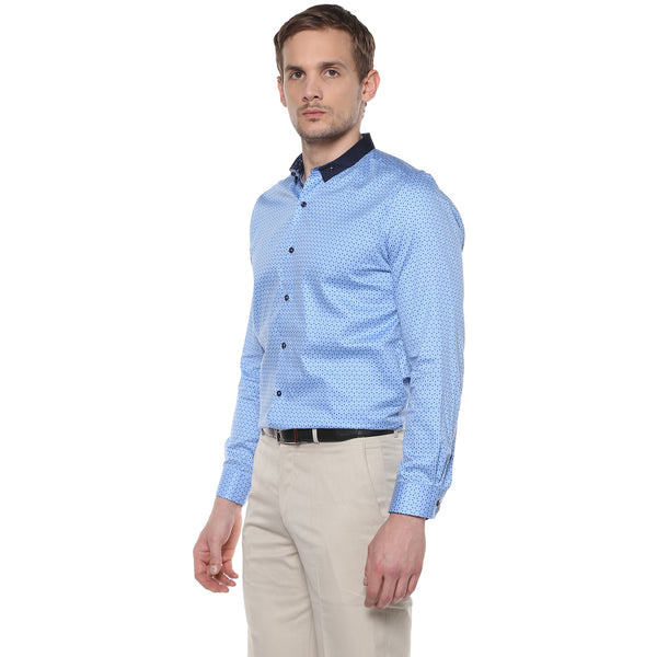 Sky Blue Geometric Print Partywear Shirt With Button Down Collar