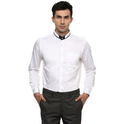 Turtle Solid White Formal Shirt With 2 Way Collar